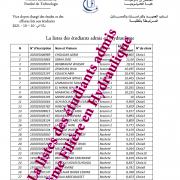 La listes des étudiants admis en Hydraulique